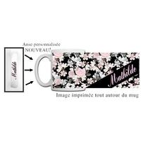 Mug Fleurs personnalisé avec prénom avec Anse imprimée !
