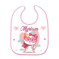 Bavoir bébé fille Chat Chaton personnalisé avec prénom