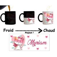 Mug tasse magique Chat Chaton fille personnalisé avec prénom