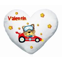 Coussin coeur Bébé voiture personnalisé avec prénom