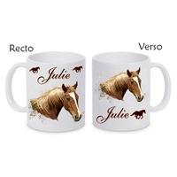Mug (tasse) céramique Cheval personnalisé avec prénom
