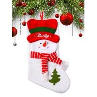 Botte chaussette de noël C01 Bonhomme de neige personnalisée avec prénom