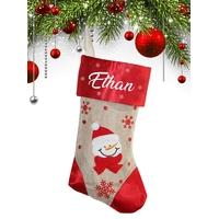 Botte chaussette de noël E01 Bonhomme de neige personnalisée avec prénom