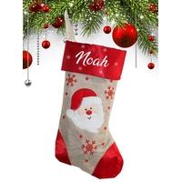 Botte chaussette de noël E02 Père noël personnalisée avec prénom
