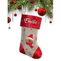 Botte chaussette de noël E03 Bonhomme de neige personnalisée avec prénom
