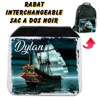 Rabat interchangeable Bateau de pirate personnalisé avec prénom