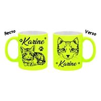Mug (tasse) Fluo Chat Chaton personnalisé avec prénom