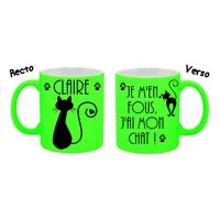 Mug (tasse) Fluo humour Je m'en fous j'ai mon chat ...personnalisé avec prénom