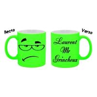 Mug (tasse) Fluo humour Mr Grincheux personnalisé avec prénom