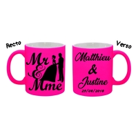 Mug (tasse) Fluo Mariage personnalisé avec prénoms et date
