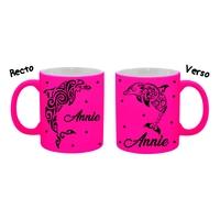 Mug (tasse) Fluo Dauphin personnalisé avec prénom
