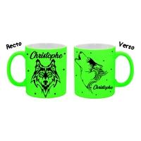 Mug (tasse) Fluo Loup personnalisé avec prénom