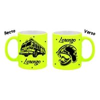 Mug (tasse) Fluo Pompier personnalisé avec prénom