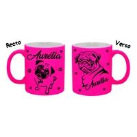 Mug (tasse) Fluo Chien Carlin personnalisé avec prénom