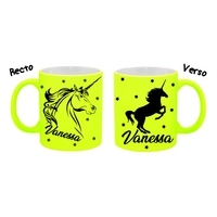 Mug (tasse) Fluo Licorne personnalisé avec prénom