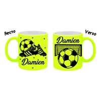Mug (tasse) Fluo Football personnalisé avec prénom