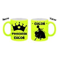 Mug (tasse) Fluo Princesse personnalisé avec prénom