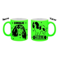 Mug (tasse) Fluo Chien Cavalier king charles personnalisé avec prénom
