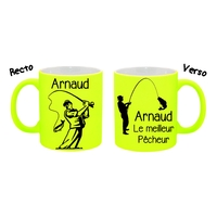 Mug (tasse) Fluo Pêche Pêcheur personnalisé avec prénom