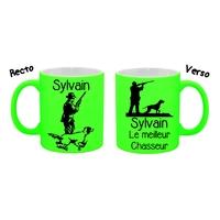 Mug (tasse) Fluo Chasse Chasseur personnalisé avec prénom