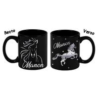 Mug (tasse) deluxe Noir et dorure Cheval personnalisé avec prénom