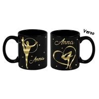 Mug (tasse) deluxe Noir et dorure GRS Gymnastique personnalisé avec prénom