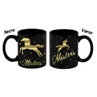 Mug (tasse) deluxe Noir et dorure Licorne personnalisé avec prénom