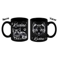 Mug (tasse) deluxe Noir et dorure Chat Chaton personnalisé avec prénom