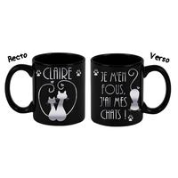 Mug (tasse) deluxe Noir et dorure Humour J'ai mes chats...personnalisé avec prénom