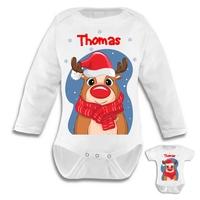 Body bébé Noël Renne personnalisé avec le prénom de votre choix