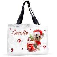 Grand sac cabas Noël Chien Yorkshire personnalisé avec prénom