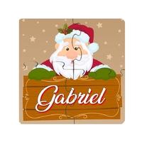 Puzzle en bois bébé 4 pièces Noël Père noël personnalisé avec prénom