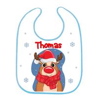 Bavoir bébé Noël Renne personnalisé avec prénom