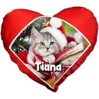 Coussin coeur Chat chaton de noël personnalisé avec prénom au choix