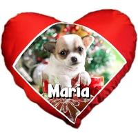 Coussin coeur Chiot chihuahua de noël personnalisé avec prénom au choix