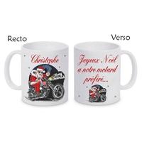 Mug (tasse) céramique Noël Motard Moto personnalisé avec prénom et message