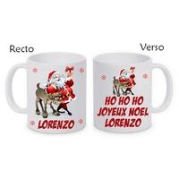 Mug (tasse) céramique Noël Père noël personnalisé avec prénom