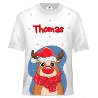 Tee shirt enfant Renne de noël personnalisé avec prénom