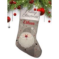 Botte chaussette de noël Grise Père Noël personnalisée avec prénom