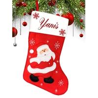 Botte chaussette de noël Rouge Père Noël personnalisée avec prénom