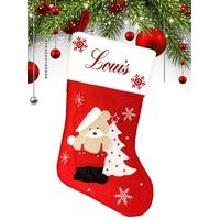 Botte chaussette de noël Rouge Ourson Nounours personnalisée avec prénom