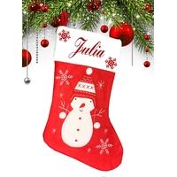 Botte chaussette de noël Rouge Bonhomme de neige personnalisée avec prénom
