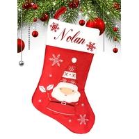 Botte chaussette de noël Rouge Père Noël Lutin personnalisée avec prénom