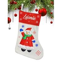 Botte chaussette de noël blanche Bonhomme de neige personnalisée avec prénom