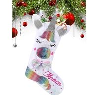 *** Botte chaussette Licorne de noël Lumineuse personnalisée avec prénom