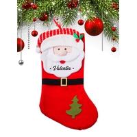 Botte chaussette de noël C02 Père Noël personnalisée avec prénom