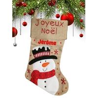 Botte chaussette de noël en lin Bonhomme de neige personnalisée avec prénom