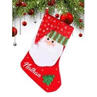 Botte Chaussette de noël B02 Père Noël personnalisée avec prénom