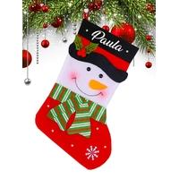 Botte Chaussette de noël B01 Bonhomme de neige personnalisée avec prénom