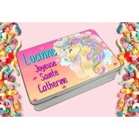 Boite à bonbons Sainte Catherine Licorne personnalisée avec le prénom de votre choix